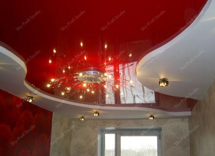 фото цветных натяжных потолков для кухни
