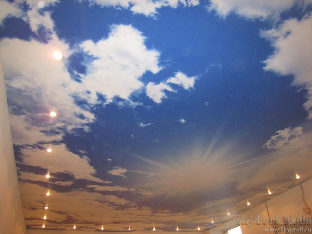 натяжной потолок с рисунком фото цена